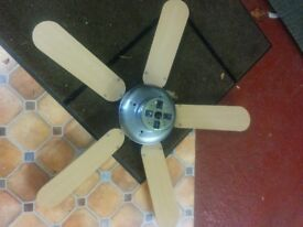 Light wood and chrome electric ceiling fan