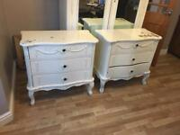 2 French shabby chic bedside cabinets or chest of drawers