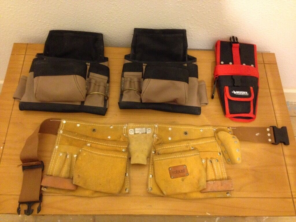 Tool belt, belt pouches, drill holster £5 each