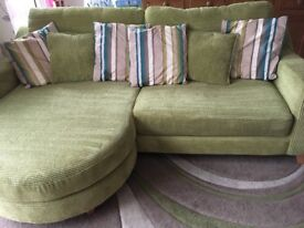 Lime green sofa and foot stall