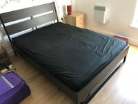 IKEA Trysil double bed (walnut) with Hamarvik mattress