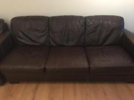 DFS brown leather sofas (3 and 2 seater)