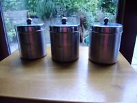 Containers John Lewis, Stainless steel containers for tea, coffee, sugar with lids, never used