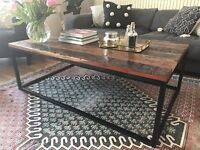 Rustic Reclaimed Wood / Black Iron Coffee Table
