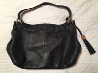 Classic Furla Soft Leather Handbag / Shoulder Bag in black