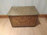 Vintage Coal Scuttle Log Box + Bin Liner / Antique Brass Wood Kindling Tinder Fireside Storage