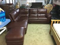 BROWN LEATHER CORNER SOFA WITH FOOTSTOOL