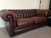 Real leather Vintage Chesterfield 2 seater