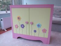 Toy storage cupboard, painted wood with flower design, main colour pink