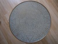 Antique Brass-Topped Egyptian/Persian Occasional Table