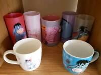12 Eeyore Mugs & 4 Eeyore Glasses