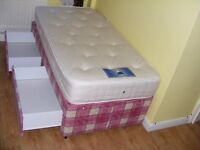 CAN DELIVER - SINGLE DIVAN BED WITH 2 DRAWERS AND MATTRESS IN VERY GOOD CONDITION