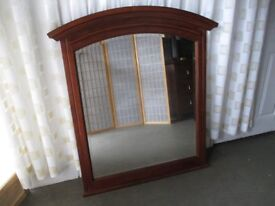 LARGE MAHOGANY ARCH TOP OVER MANTLE MIRROR FREE DELIVERY
