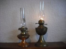 BRASS OIL LAMPS, LAMP CHIMNEYS AND LAMP OIL FOR SALE