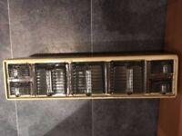 Vintage 1950's Hossier Kitchen Cabinet Storage Rack with 7 x Gerrix Glass Scoops, Ex cond