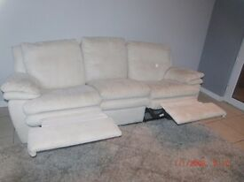 Cream Faux Suede 3 seater and 2 seater Settees