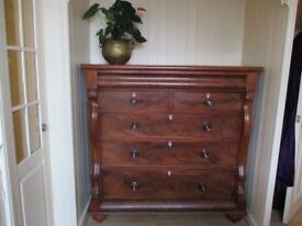Very Large Victorian Flame Mahogany 6 Drawer 'Scottish' Chest