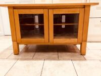 Solid Wood TV Unit with glass doors in very good condition