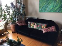 Impressive 3 seater Habit Black Velvet Sofa