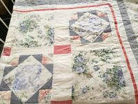 Toile Floral Check Double Bedspread