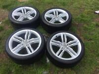 """Set of 4 19"""" Audi alloy wheels with tyres"""
