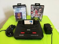 Mega Drive with 3 games