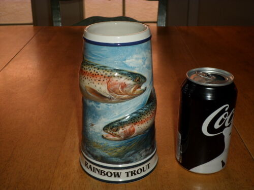 BUDWEISER BEER - RAINBOW TROUT, Handcrafted Ceramic Beer Stein / Mug, # EDITION