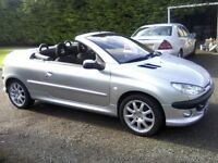 PEUGEOT 206 CC 1-6 ELECTRIC HARDTOP CONVERTIBLE 2003. 88,000 MILES, EXCELLENT CONDITION.