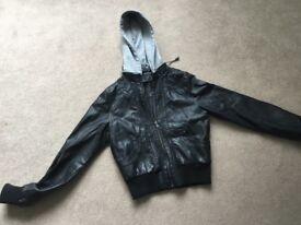 Synthetic Leather Jacket with Detachable Hood