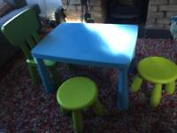 Table, two stools and chair