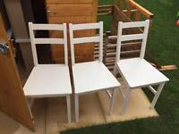 3 shabby chic wooden chairs