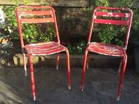 2 x French Stacking Metal Tubular Bistro Patio Chairs Worn and Vintage