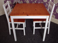Solid Pine Wood Kitchen/Dining Table With 2 Chairs Set