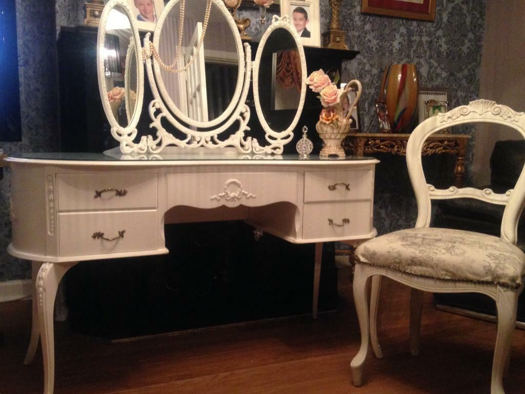 French Dressing table Mirror and Chair