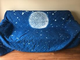 VERY LARGE COUCH SOFA COVER PROTECTOR NAVY PLANETS STARS DESIGN