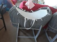 Clair de lune grey moses basket and stand