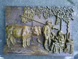 Fabulous hand carved farm scene wooden large vintage