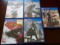 Ps4 Killzone, Watch Dogs, Mad Max, Destiny and God of War