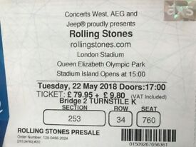 The Rolling Stones 1 Ticket - 22 May - Reserved Seating