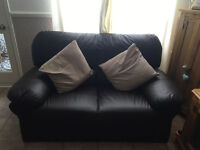 Brown leather look sofa, 2 seater