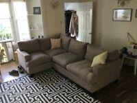 L Shape Brushed Linen Large Sofa from Sofa-dot-com