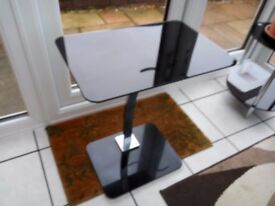 Glass Laptop table, Black and chrome.