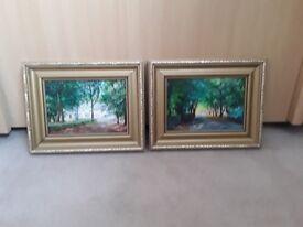Two small original acrylic paintings