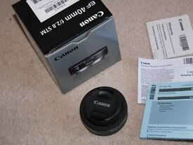 Canon EF 40mm F/2.8 STM Pancake Lens boxed in mint condition + UV filter