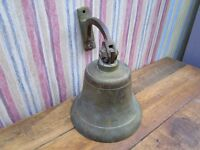 """""REDUCED"""" ANTIQUE 6"" SOLID BRASS WALL BELL AND BRACKET,"