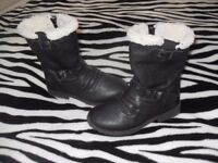 Girls Black Biker Boots with Buckles and Furry Tops Size 10