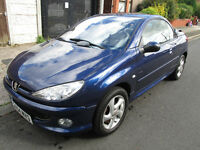 Peugeot 206 CC 1.6 16v Allure 2dr, mot december, full stamped service history, new discs and pads.