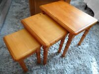 pine set of 3 nest of tables solid wood