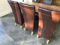 Bargain! Faux brown leather dining room chairs (x6)