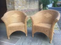 Genuine Wicker Armchairs x 2 with Cushions from John Lewis